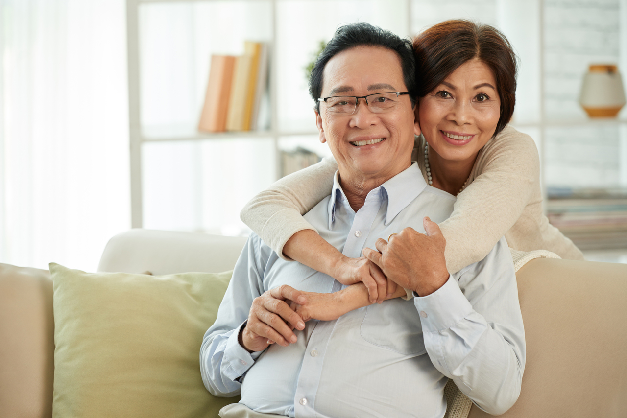 An elderly couple with a strong immune system